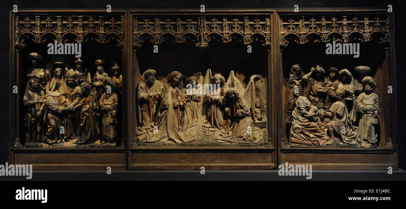 Utrecht, 1470-1480. Clay. Nativity, Adoration of the Kings and Marriage of  Mary and Joseph.