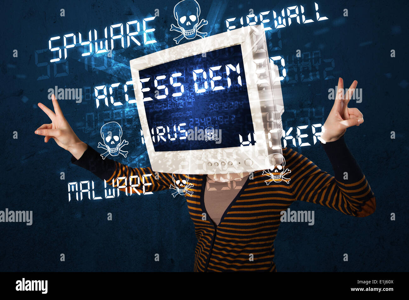 Monitor head person with hacker type of signs on the screen Stock