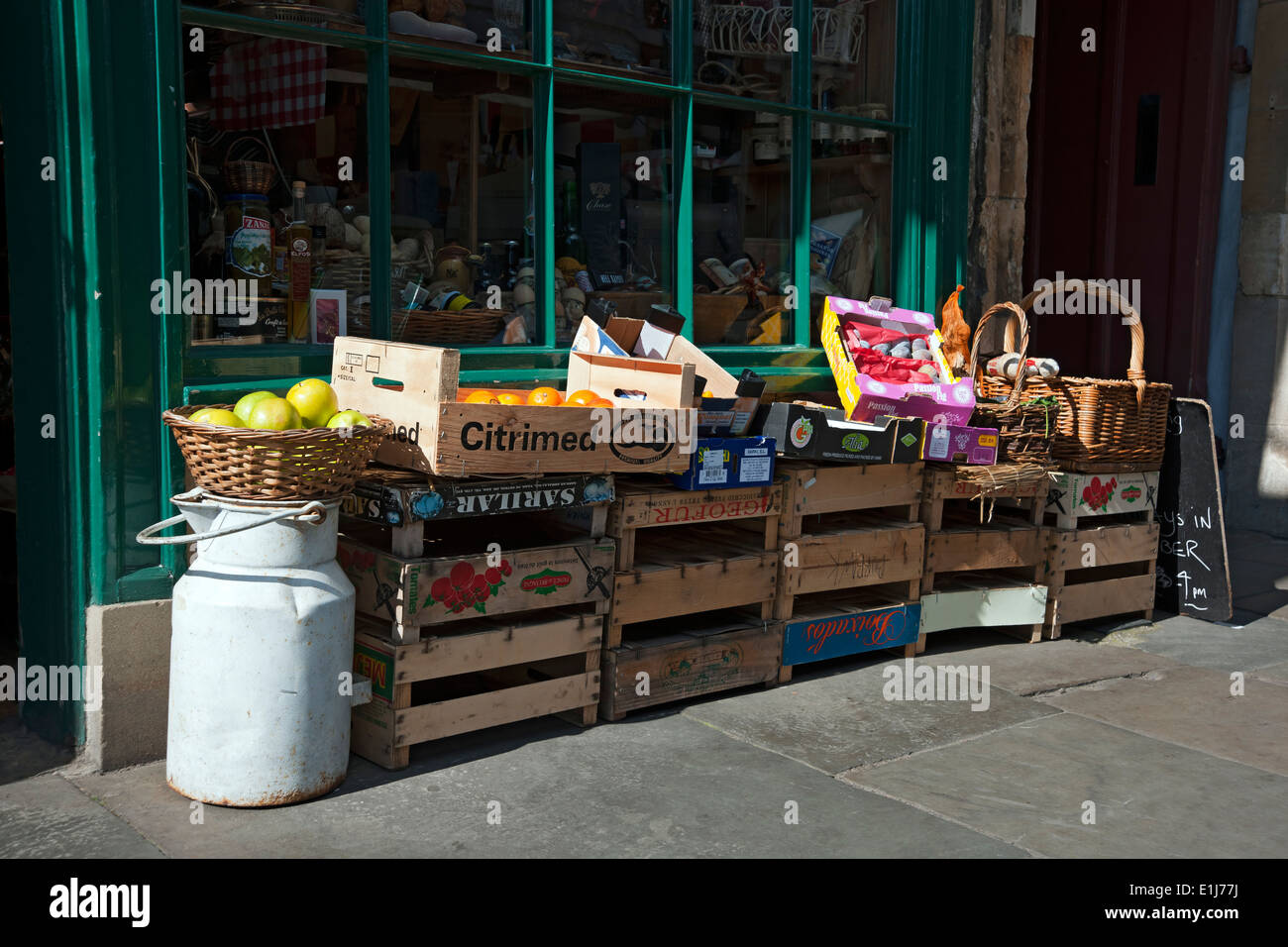 Fruit on display outside delicatessen York North Yorkshire England UK United Kingdom GB Great Britain - Stock Image