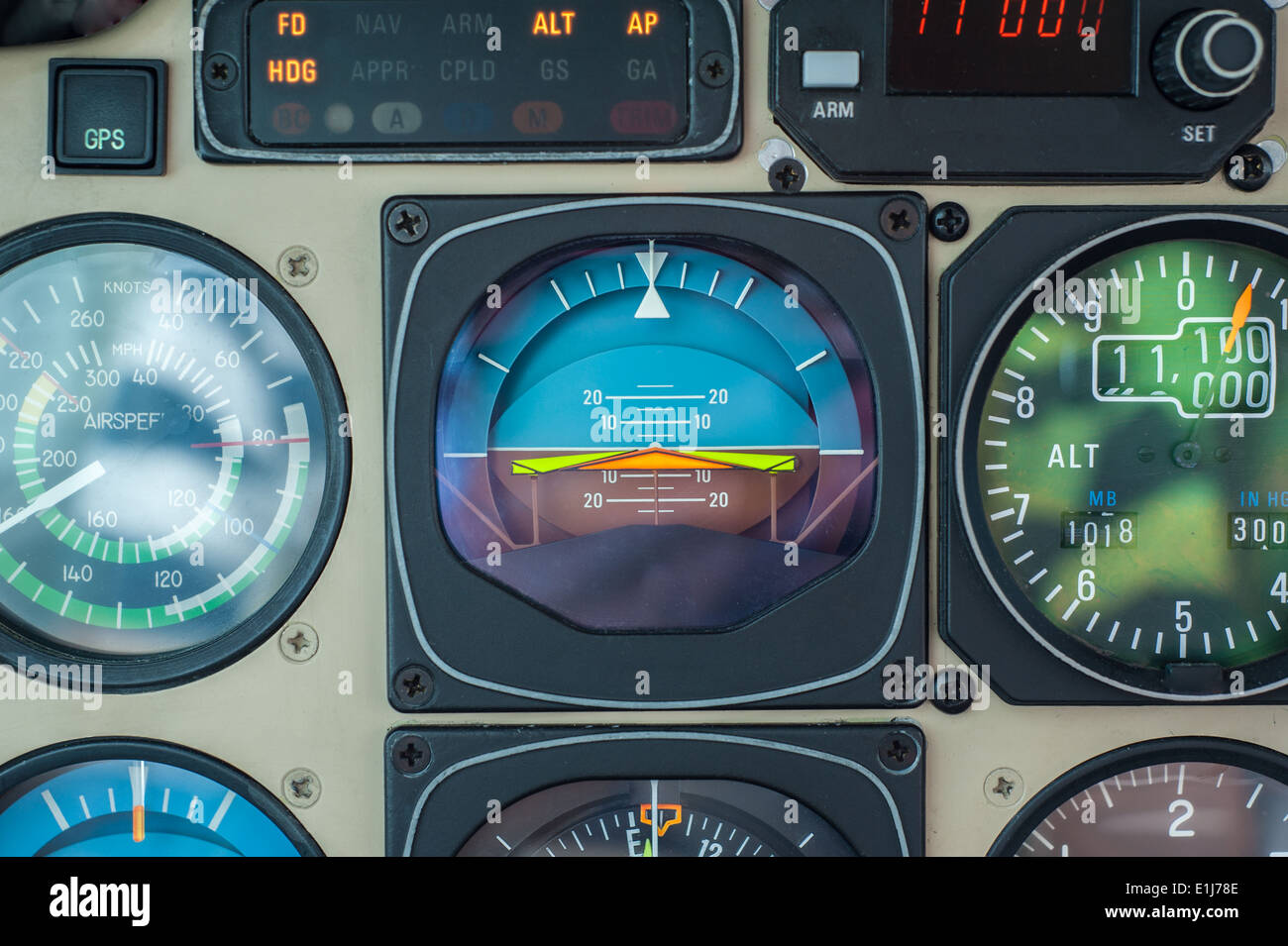 Private Aircraft Instrument Panel - all brand names and registration marks removed - Stock Image