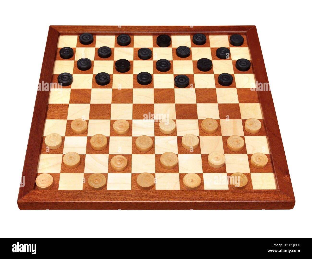 checkerboard with checkers spaced - Stock Image