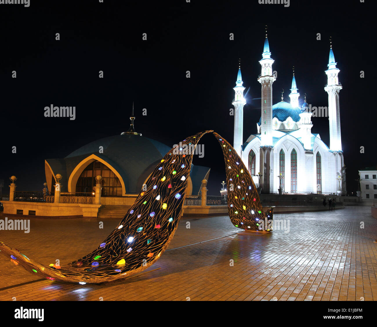 kul sharif mosque in kazan kremlin at night - Stock Image