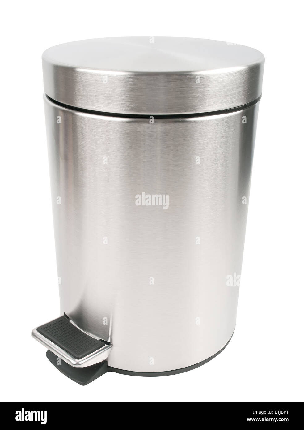 closed trash can isolated on white background - Stock Image