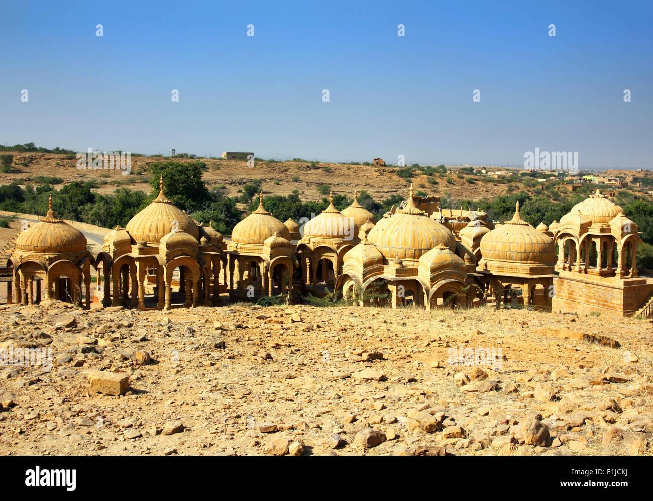 cenotaphs in Bada Bagh - Jaisalmer India - Stock Image