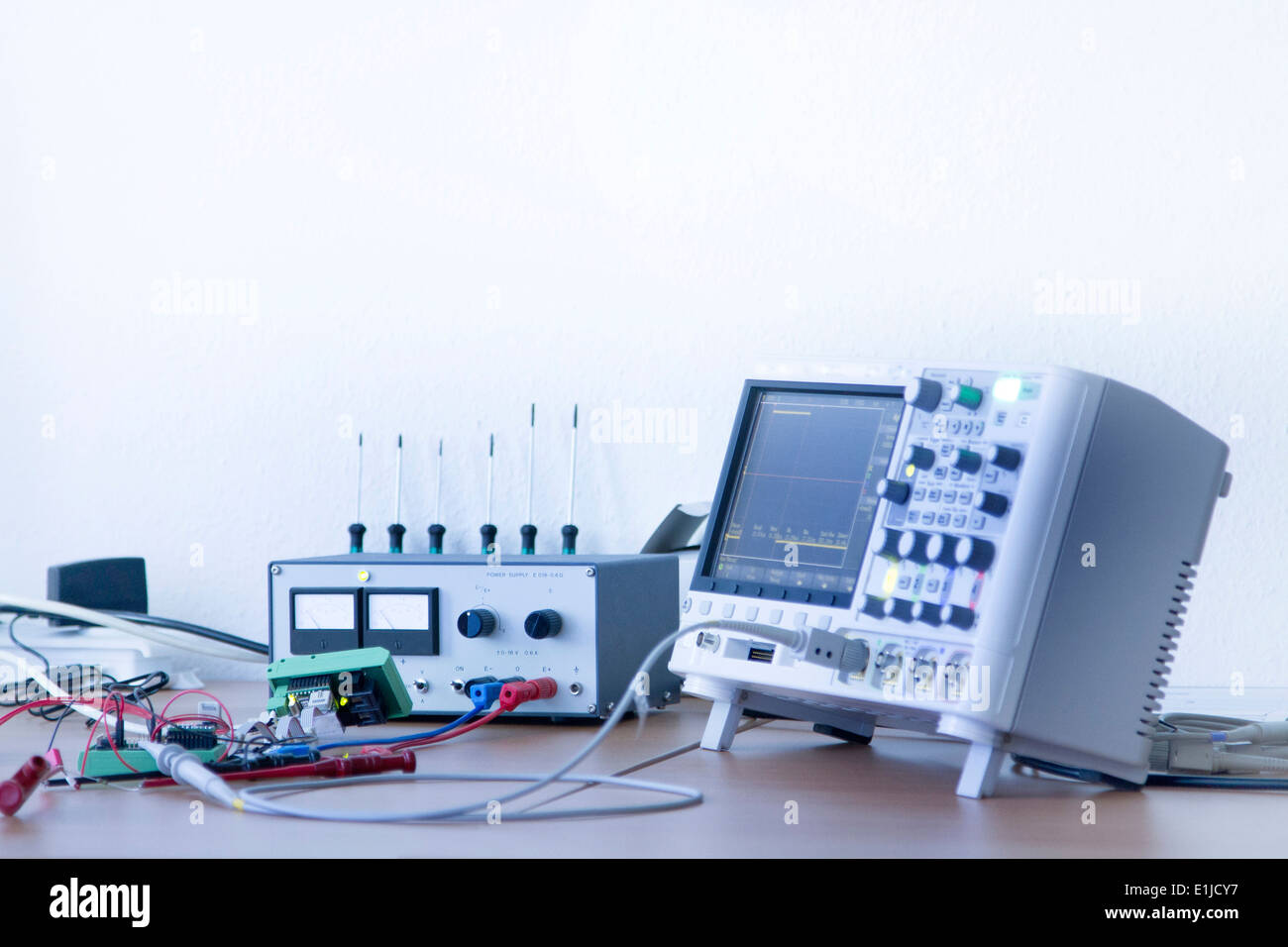 Germany, Electronic instruments of measurement in workshop - Stock Image