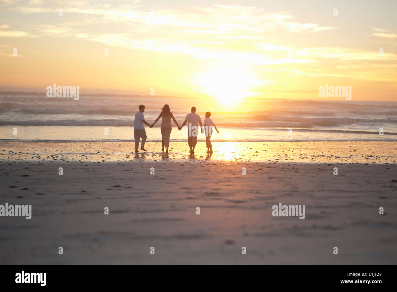 Family holding hands on beach, Cape Town, South Africa Stock Photo