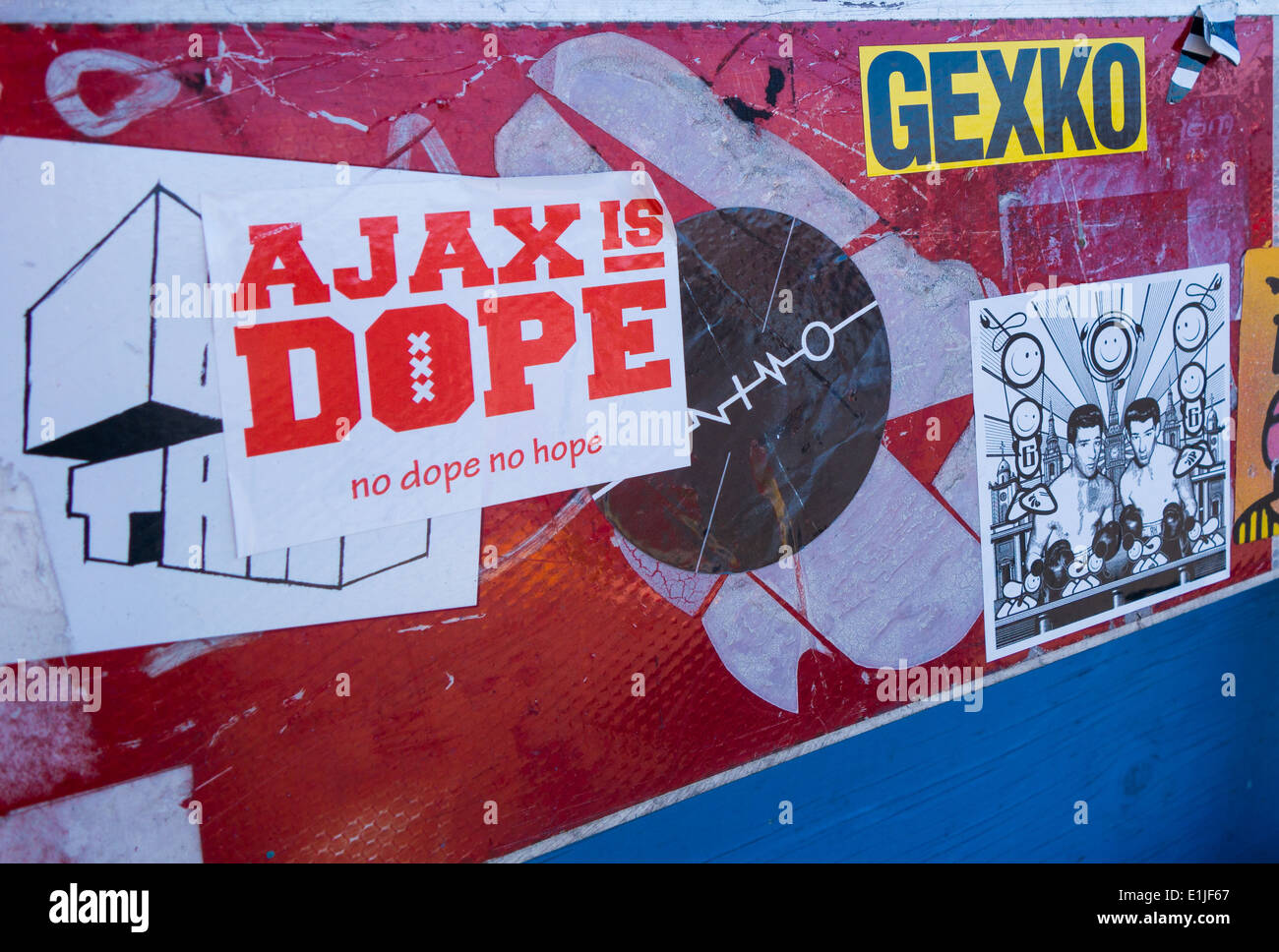 Ajax is dope sticker in Amsterdam - Stock Image