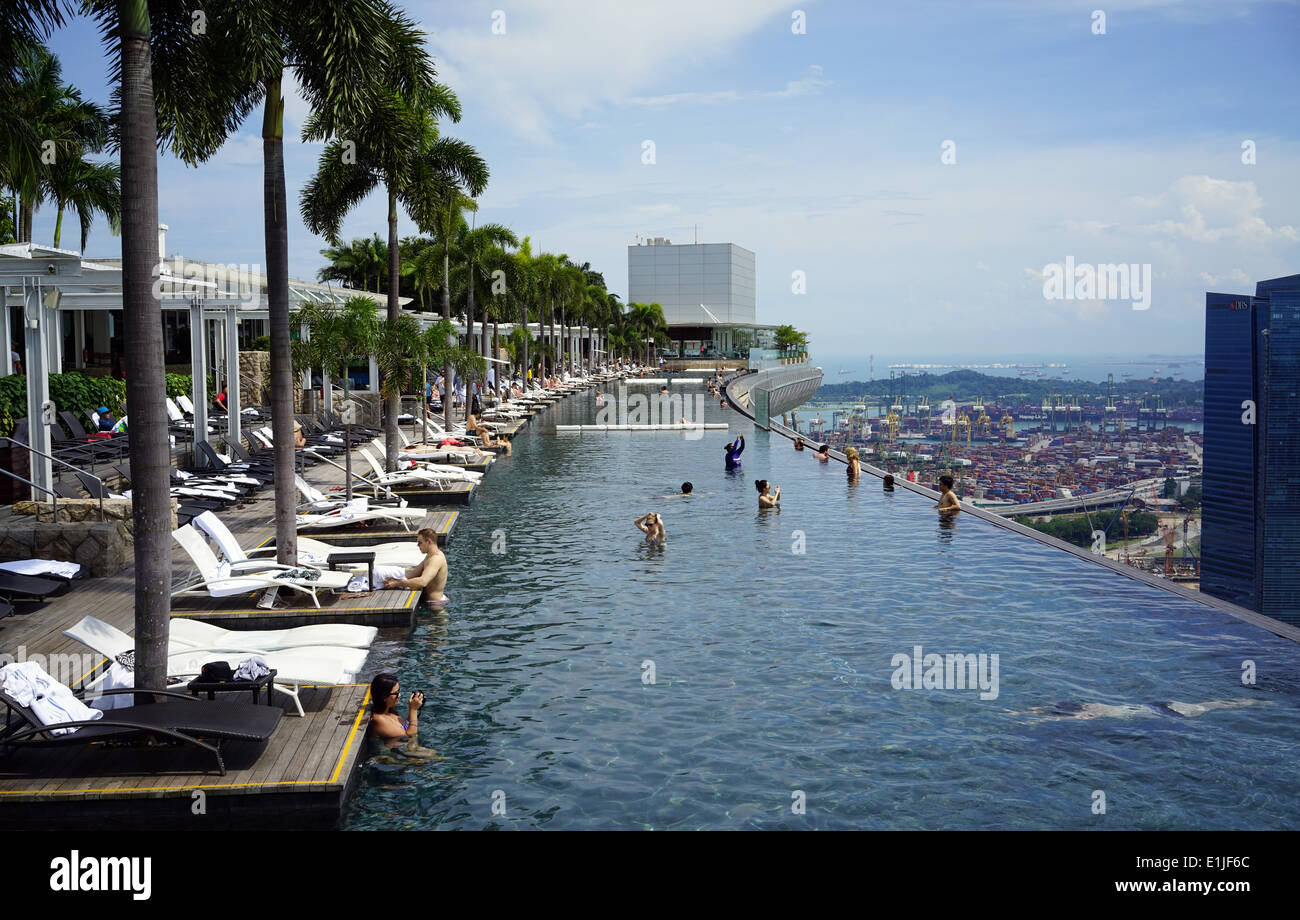 The Sky Park Infinity Swimming Pool On The 57th Floor Of Marina Bay Stock Photo 69863204 Alamy