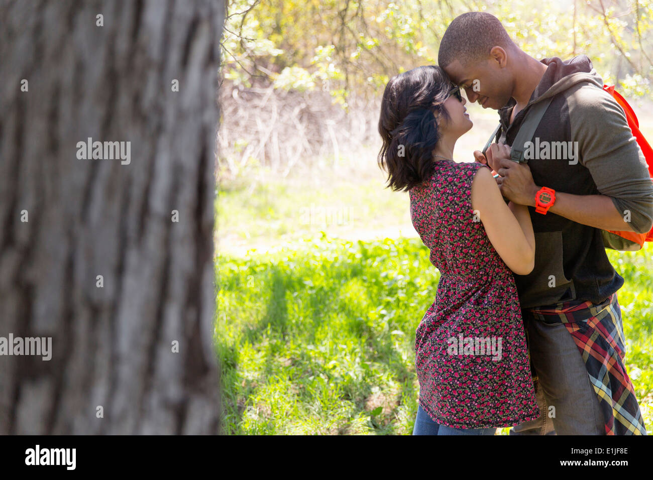 Young couple holding hands and head to head in park - Stock Image