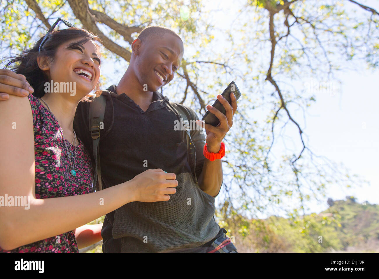 Young couple in park checking text messages - Stock Image