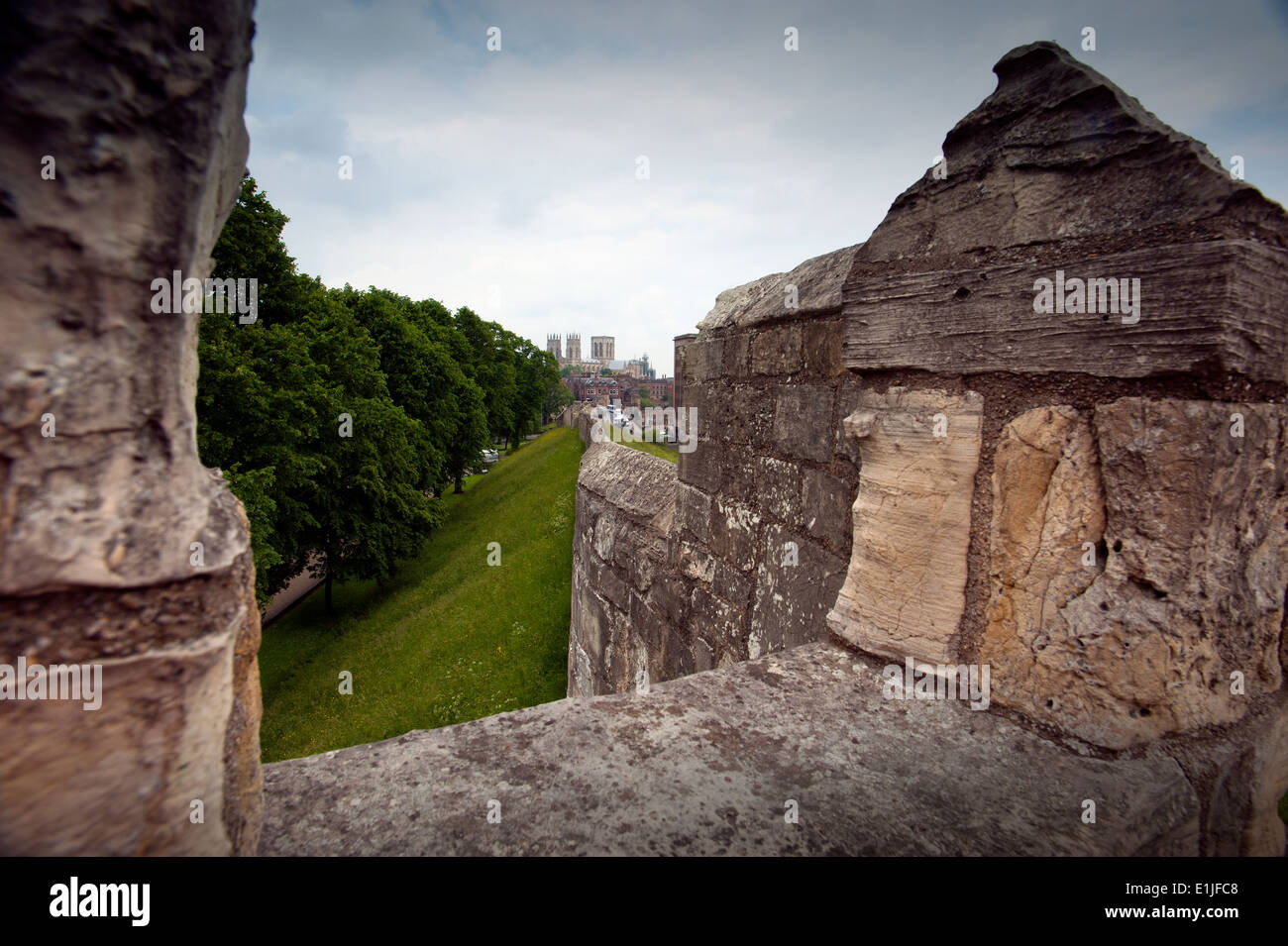 York Minster Cathedral, York, North Yorkshire, England,UK. June 2014 Seen from York City Walls based on original Roman Walls. - Stock Image