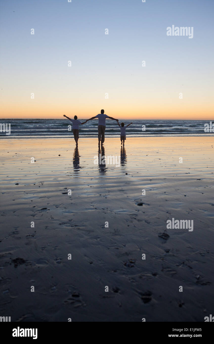 Father and sons walking on beach - Stock Image