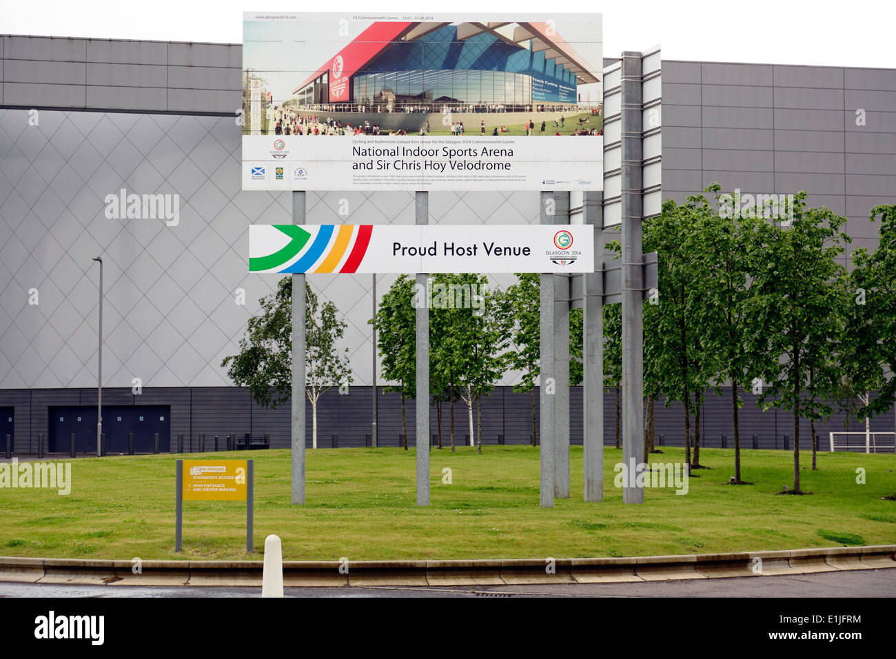 Sign at the Natonal Indoor Sports Arena and Sir Chris Hoy Velodrome venues for the Glasgow 2014 Commonwealth Games, Scotland, UK - Stock Image