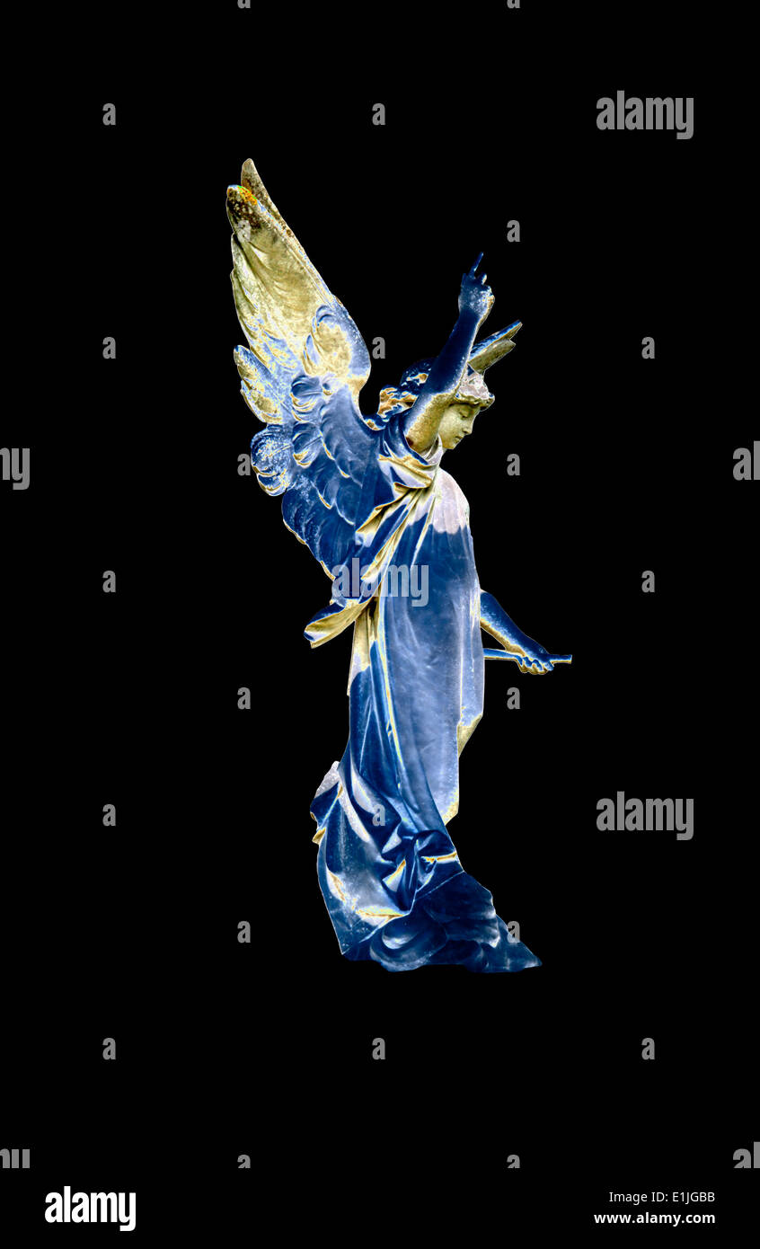 A cut-out of an angel solarised against a black background. - Stock Image