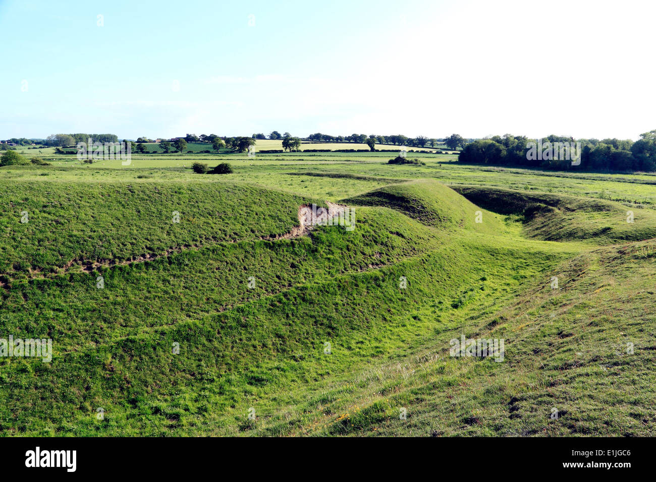 Iron Age Fort, Warham, Norfolk, banks, ditches, earthworks, prehistory, prehistoric England UK forts bank ditch earthwork - Stock Image