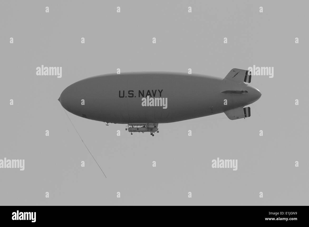 Navy Blimp overflies NS Mayport - Stock Image