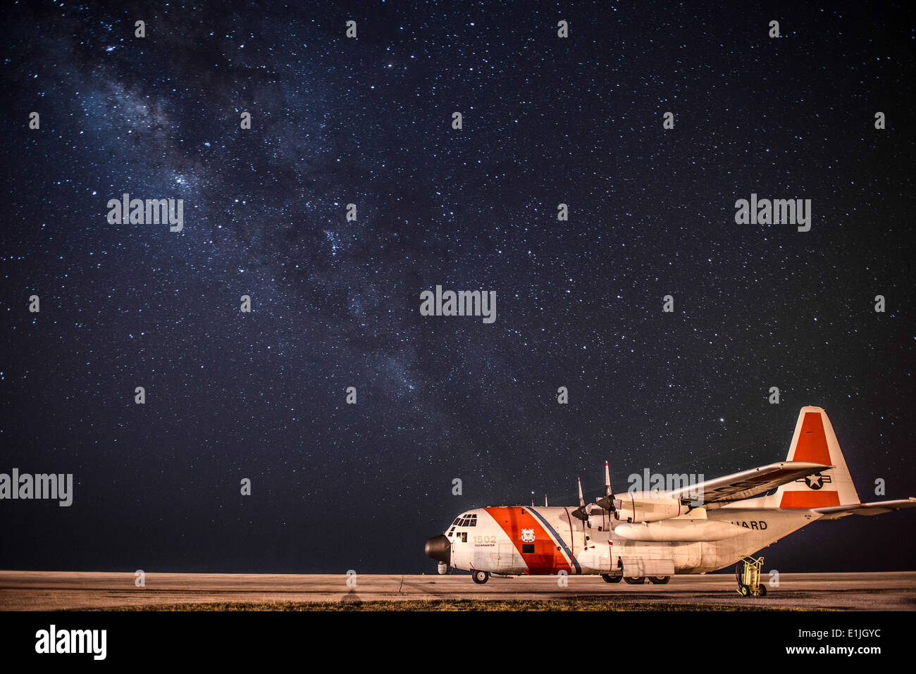 A U.S. Coast Guard C-130 Hercules aircraft assigned to Coast Guard Air Station Clearwater, Fla., sits parked on Stock Photo