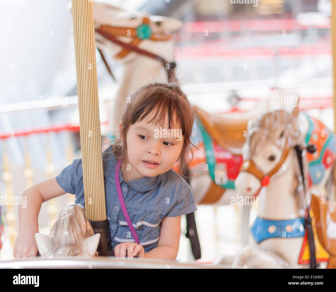 eff19c432fa3 Child Playing Carousel Kid Girl Little Happy Fun Stock Photos ...