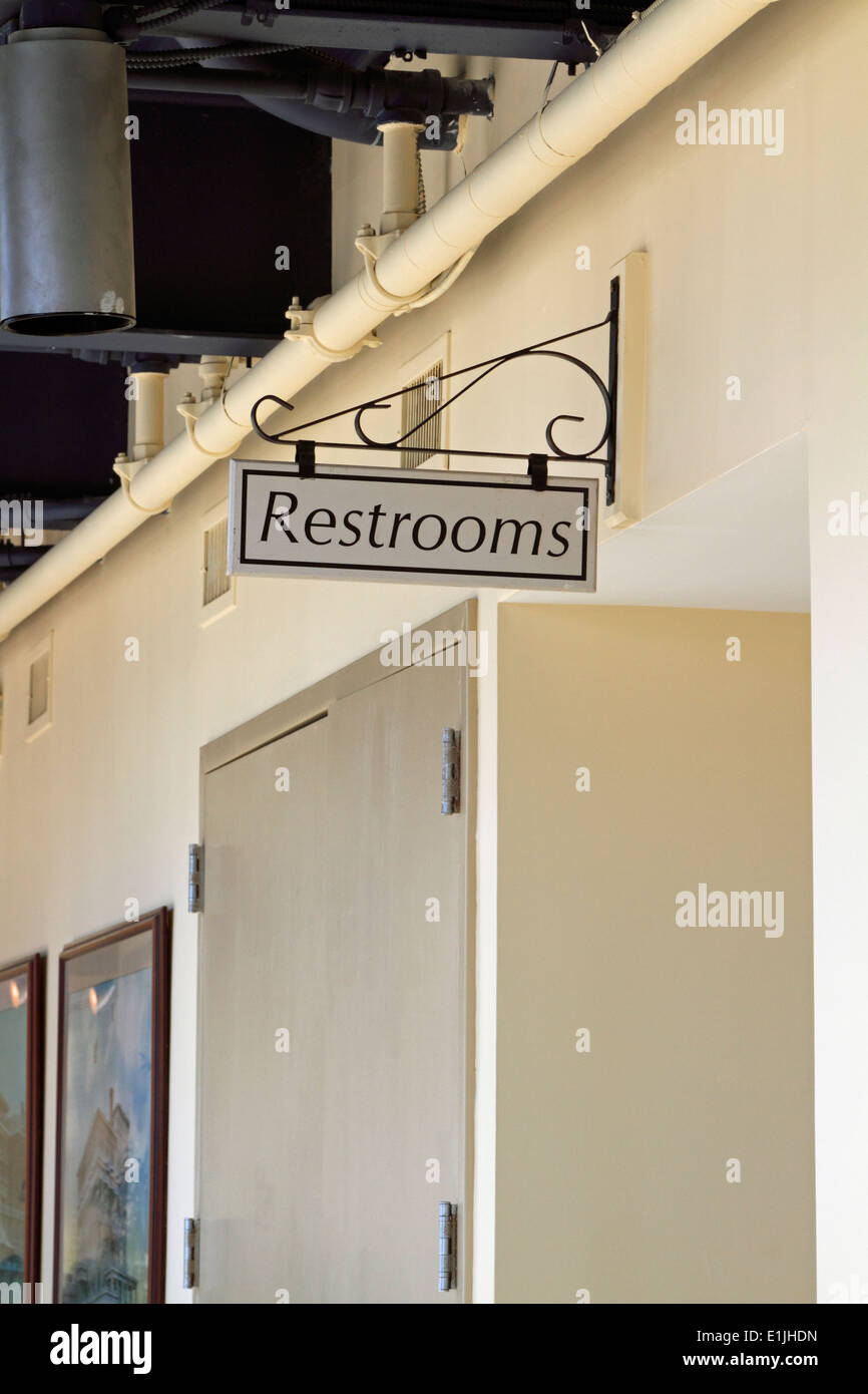 Restroom Sign. Long Branch, New Jersey, USA - Stock Image