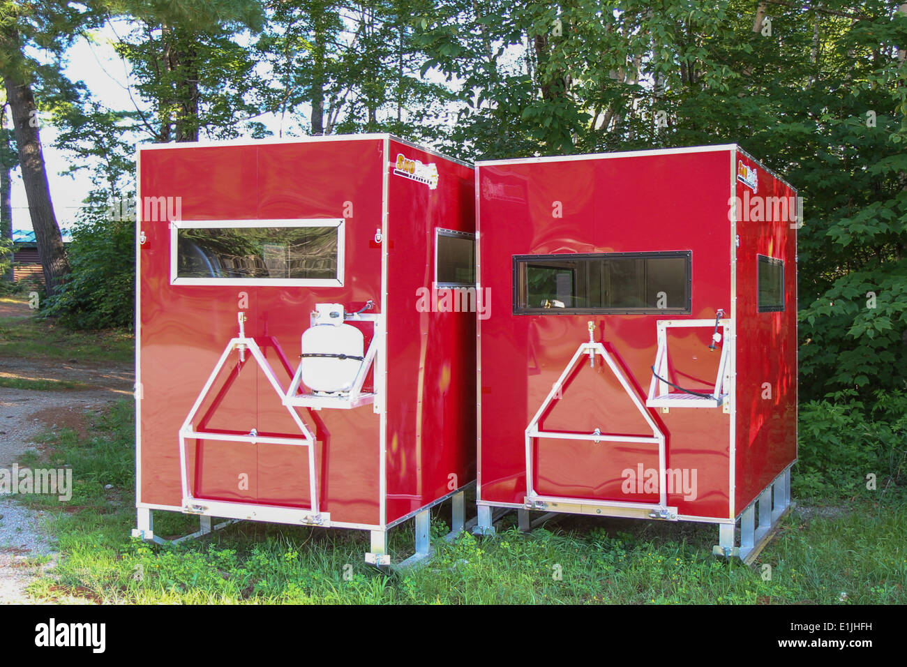Ice fishing shelters - Stock Image