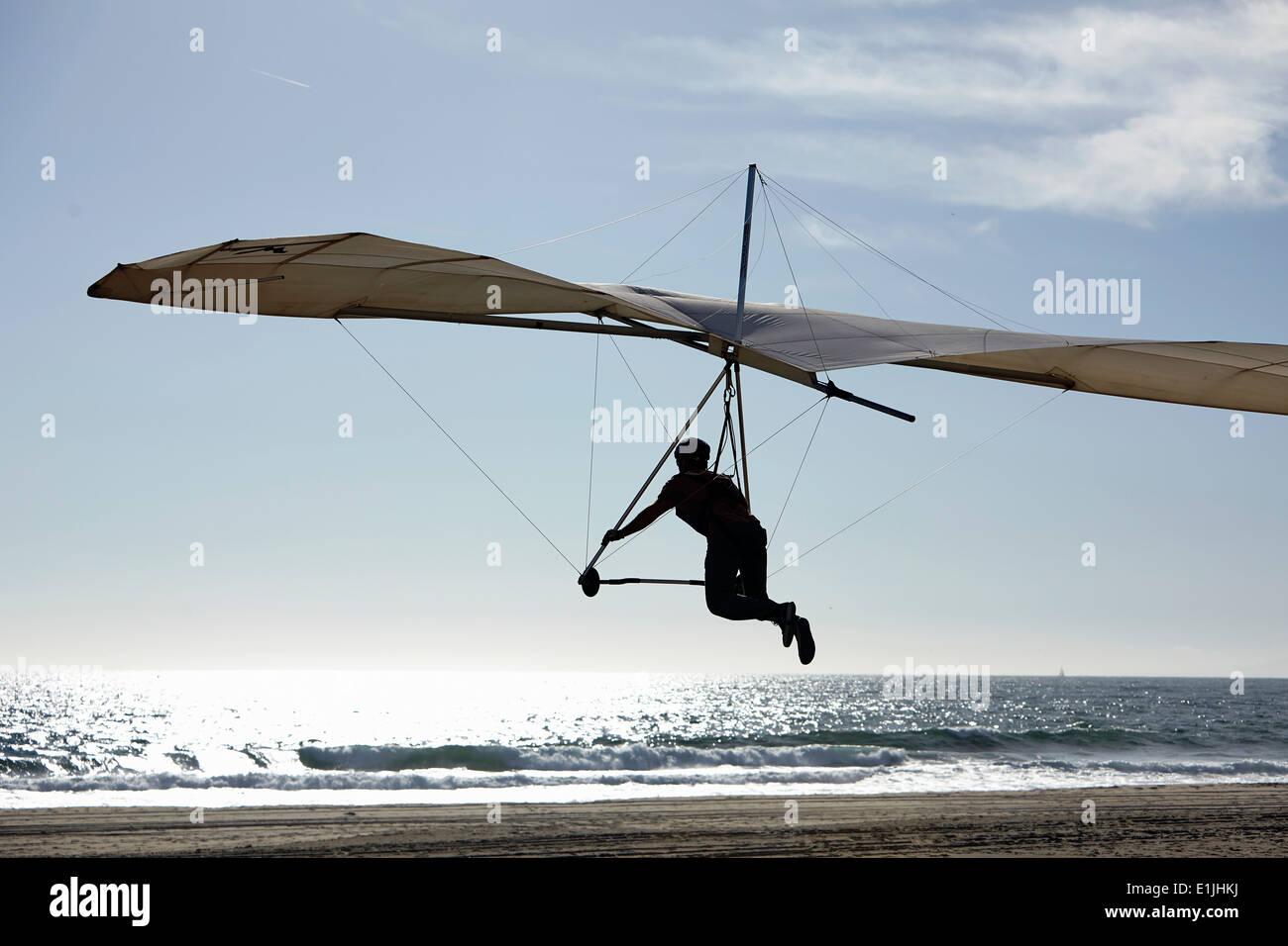 Hang glider pilot landing on beach - Stock Image