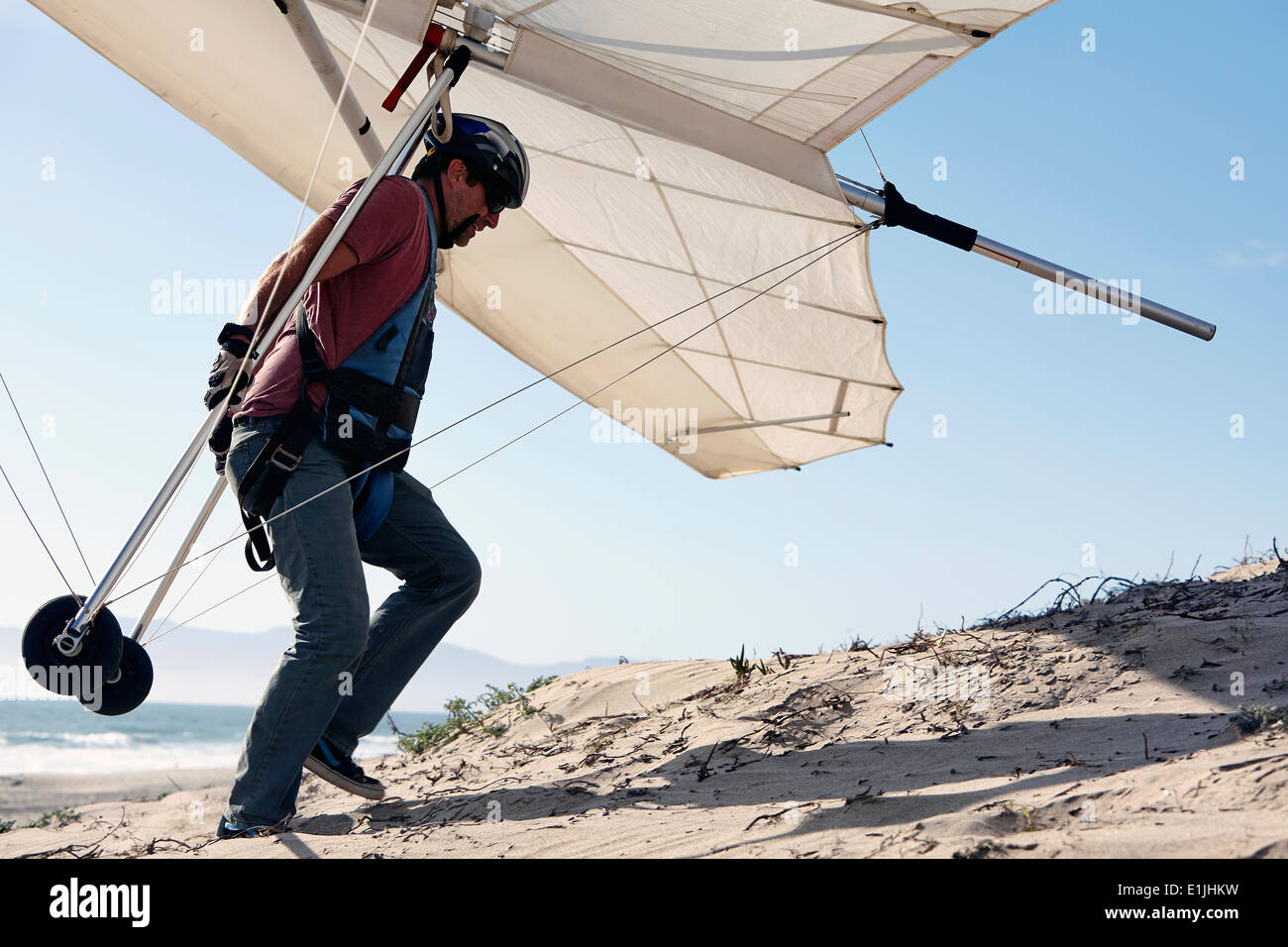 Man carrying hang glider on beach - Stock Image