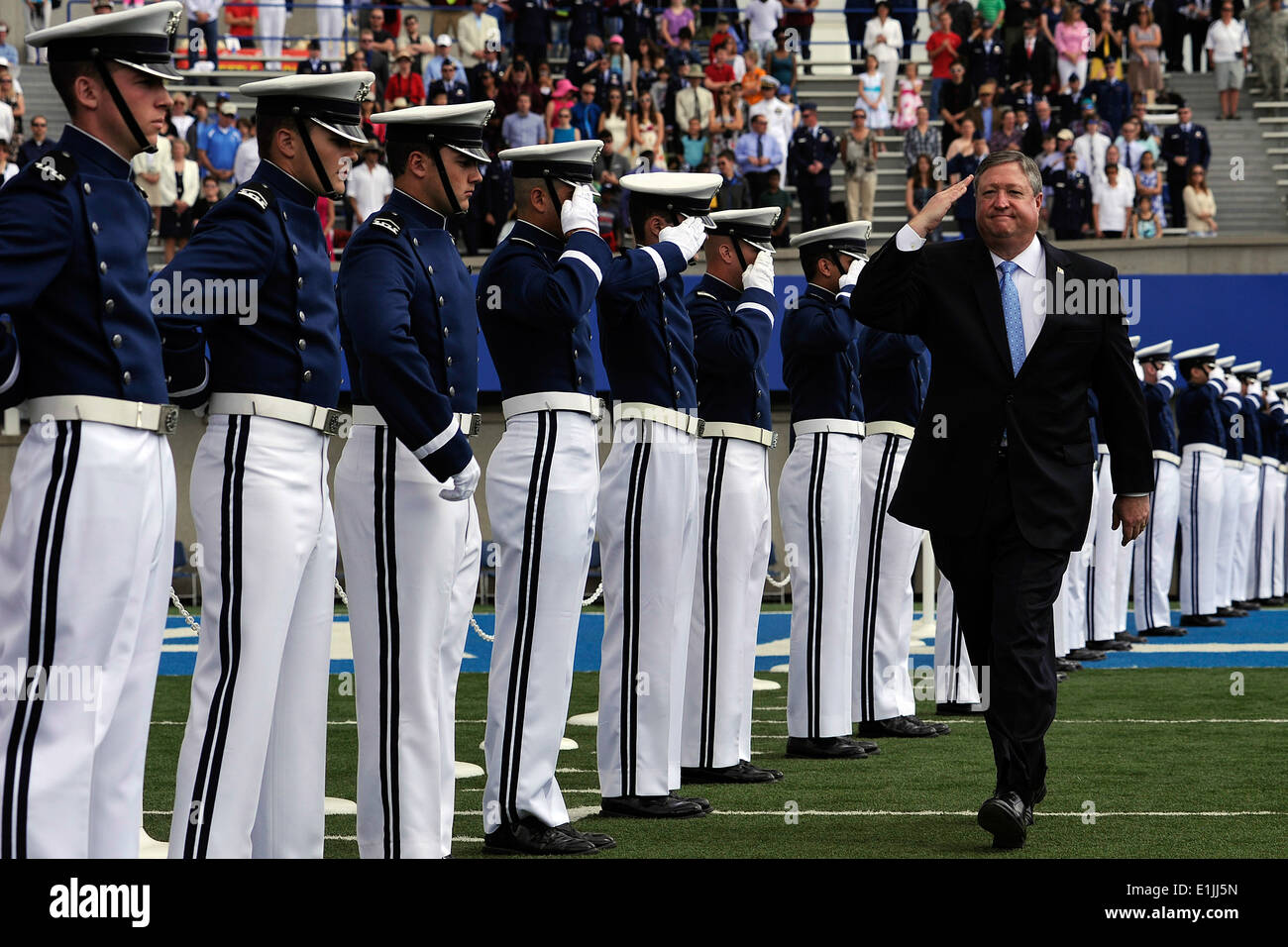 Secretary of the Air Force Michael B. Donley enters the U.S. Air Force Academy's Falcon Stadium for the Class of Stock Photo