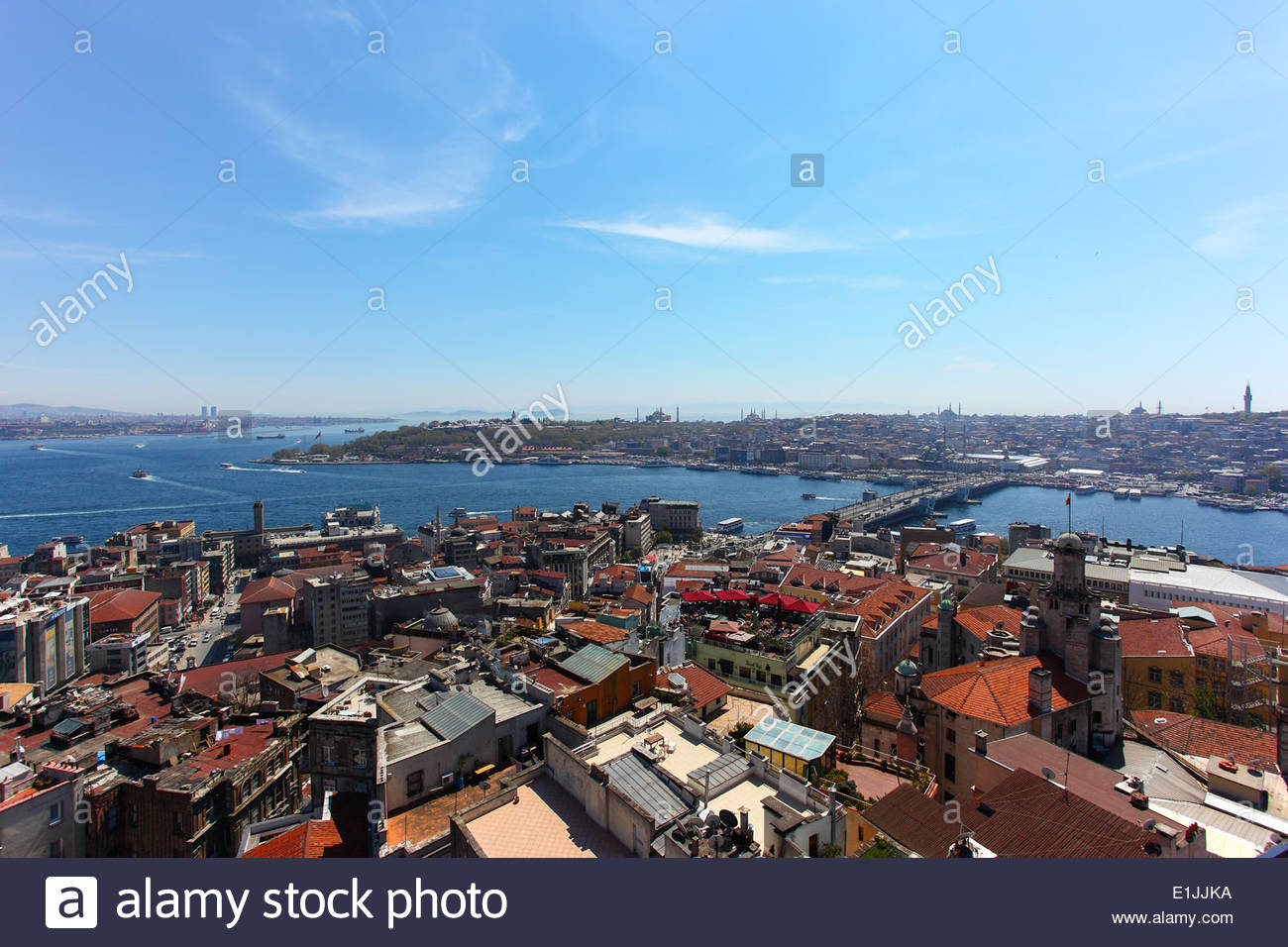 View of the Golden Horn and the Bosphorus strait from Galata Tower, in Istanbul, Turkey Stock Photo
