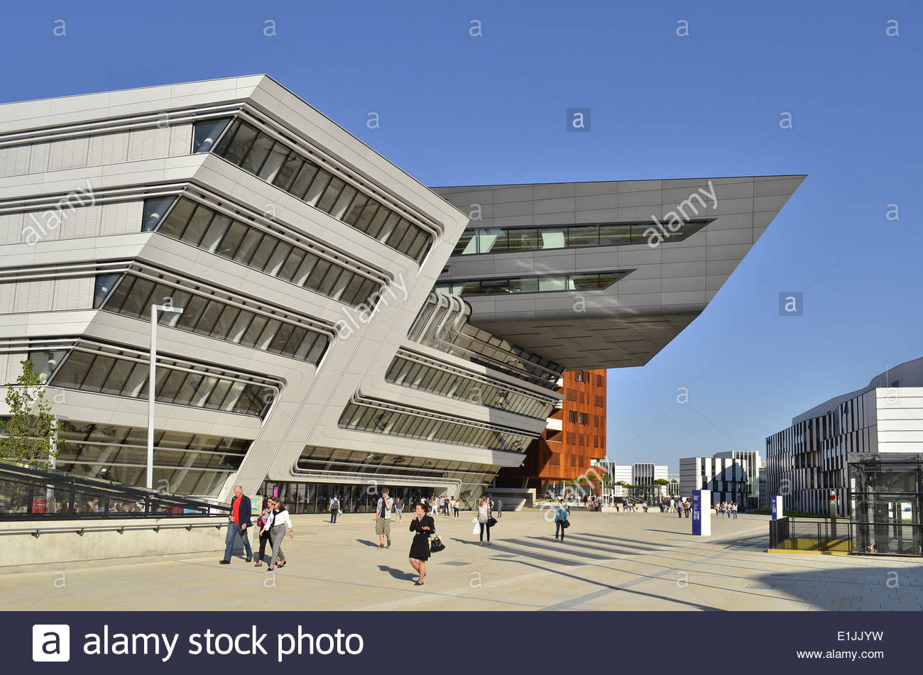 Vienna Austria - University of Economics and Business - Library and Learning Center designed by Zaha Hadid architects. Stock Photo