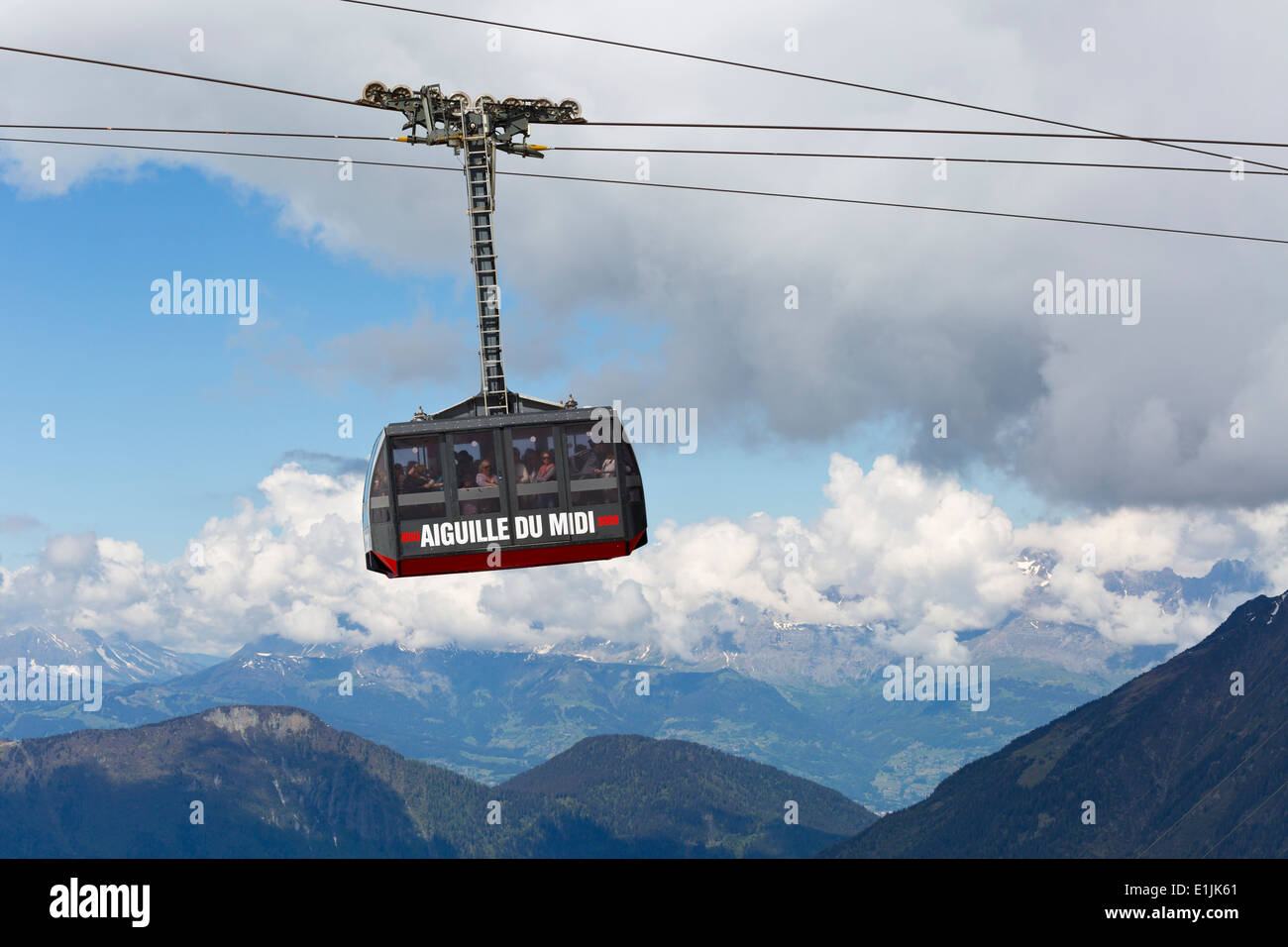 Gondola to the Aiguille du Midi in Chamonix, France Stock Photo