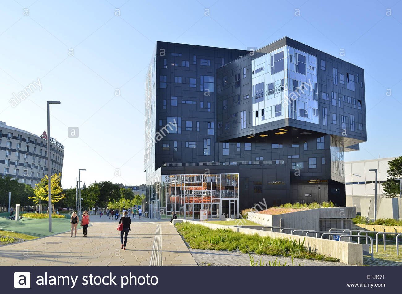 Vienna Austria University of Economics and Business - Executive Academy building by Madrid's NO.MAD Arquitectos. - Stock Image