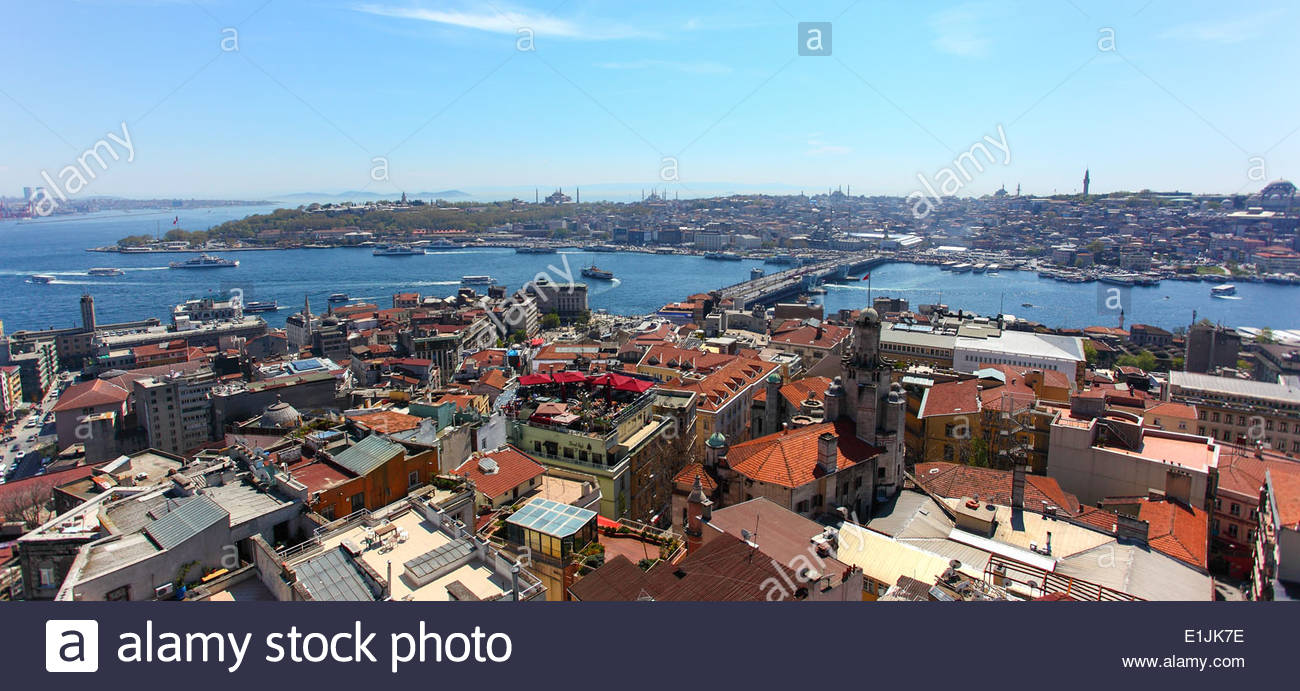 View of the Golden Horn and the Bosphorus strait from Galata Tower, in Istanbul, Turkey - Stock Image