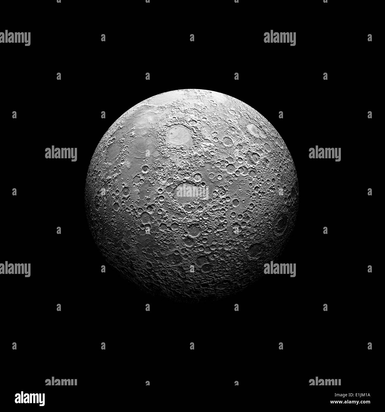 Artist's depiction of a heavily cratered moon. The moon elements were extracted from a false color, NASA topo map. - Stock Image