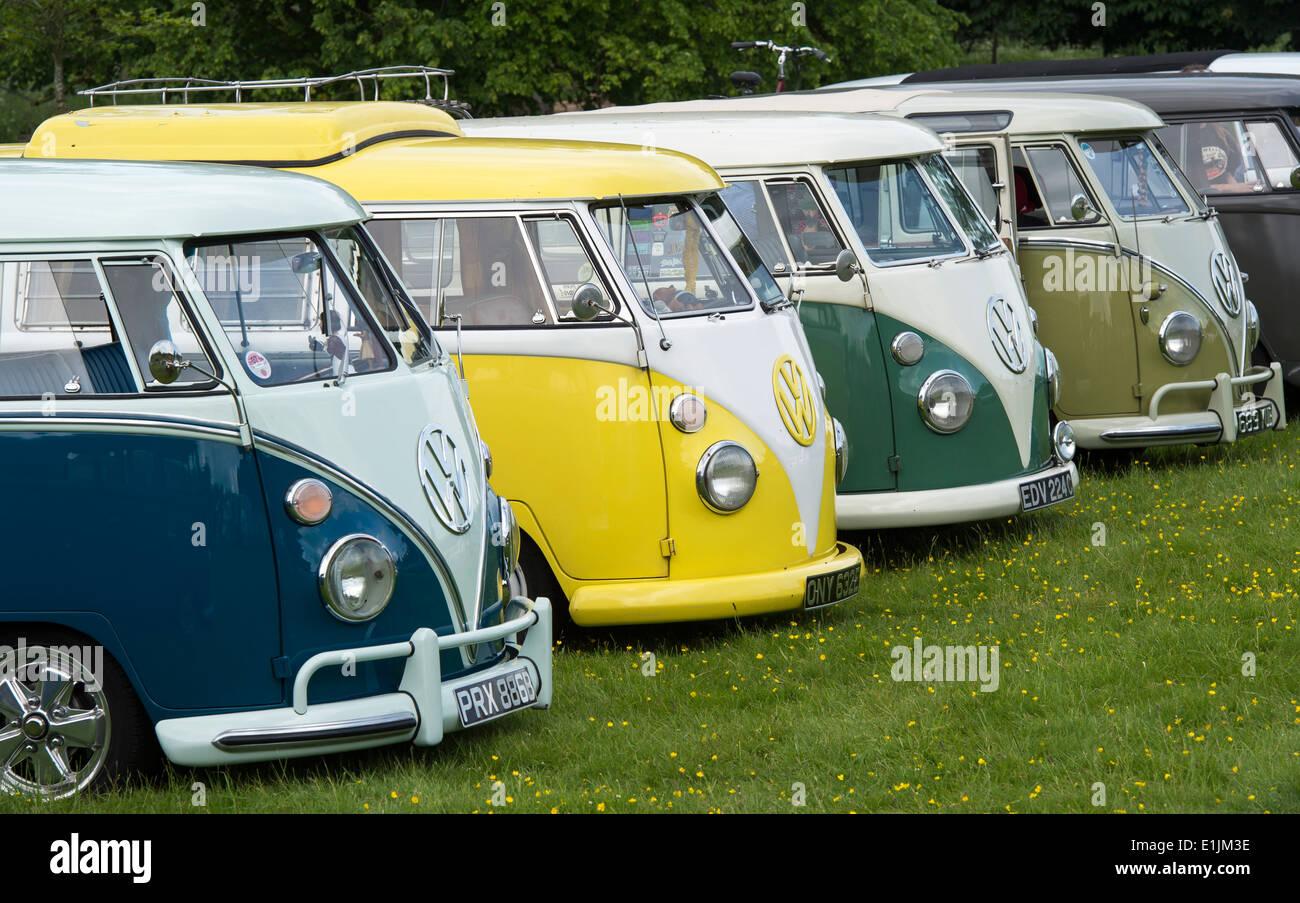 Line of VW Split Screen Volkswagen camper vans at a VW show. England - Stock Image