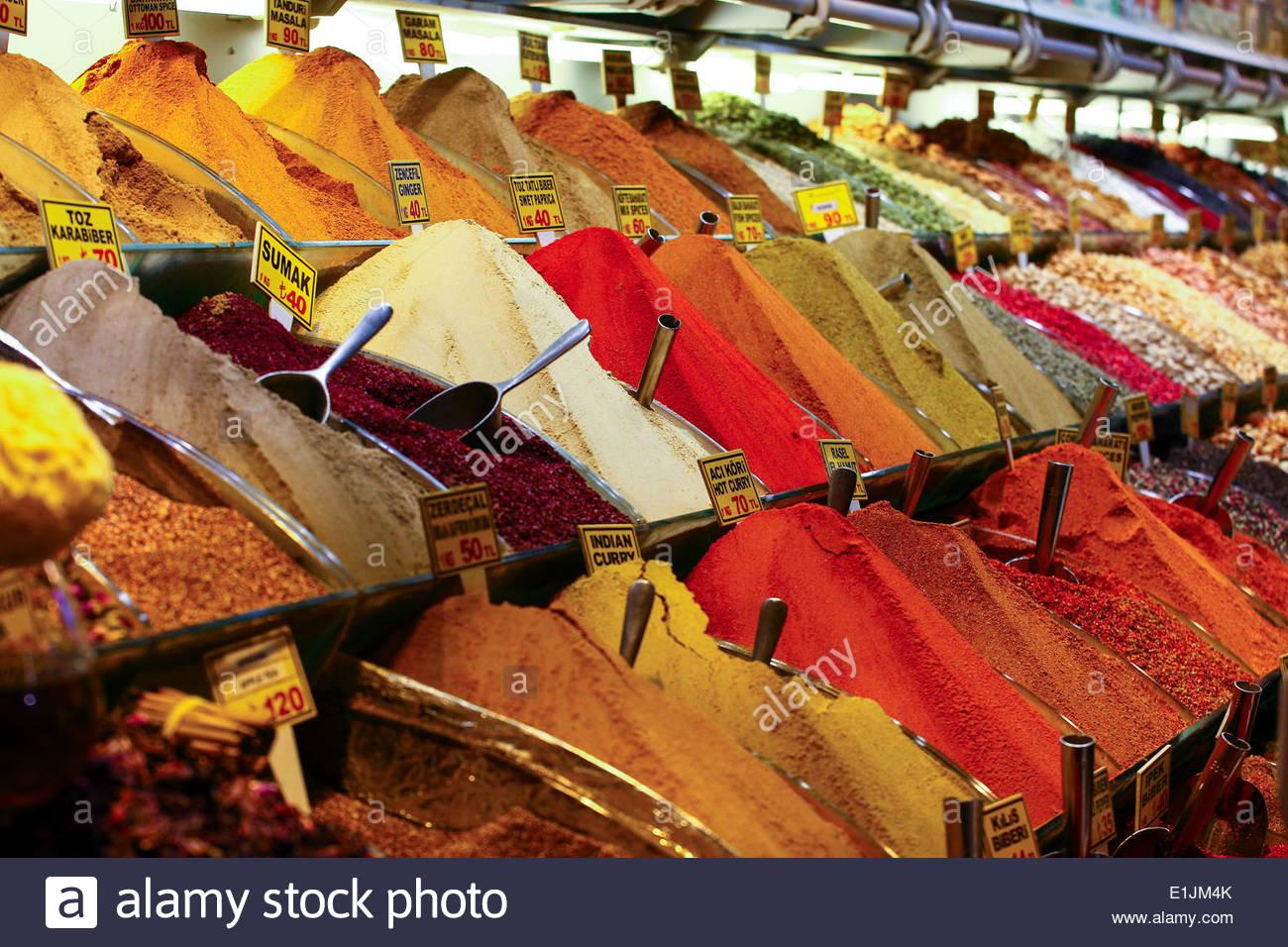 Spices in the The Spice Bazaar (Turkish: Mısır Çarşısı ) AKA Egyptian Bazaar in Istanbul, Turkey - Stock Image