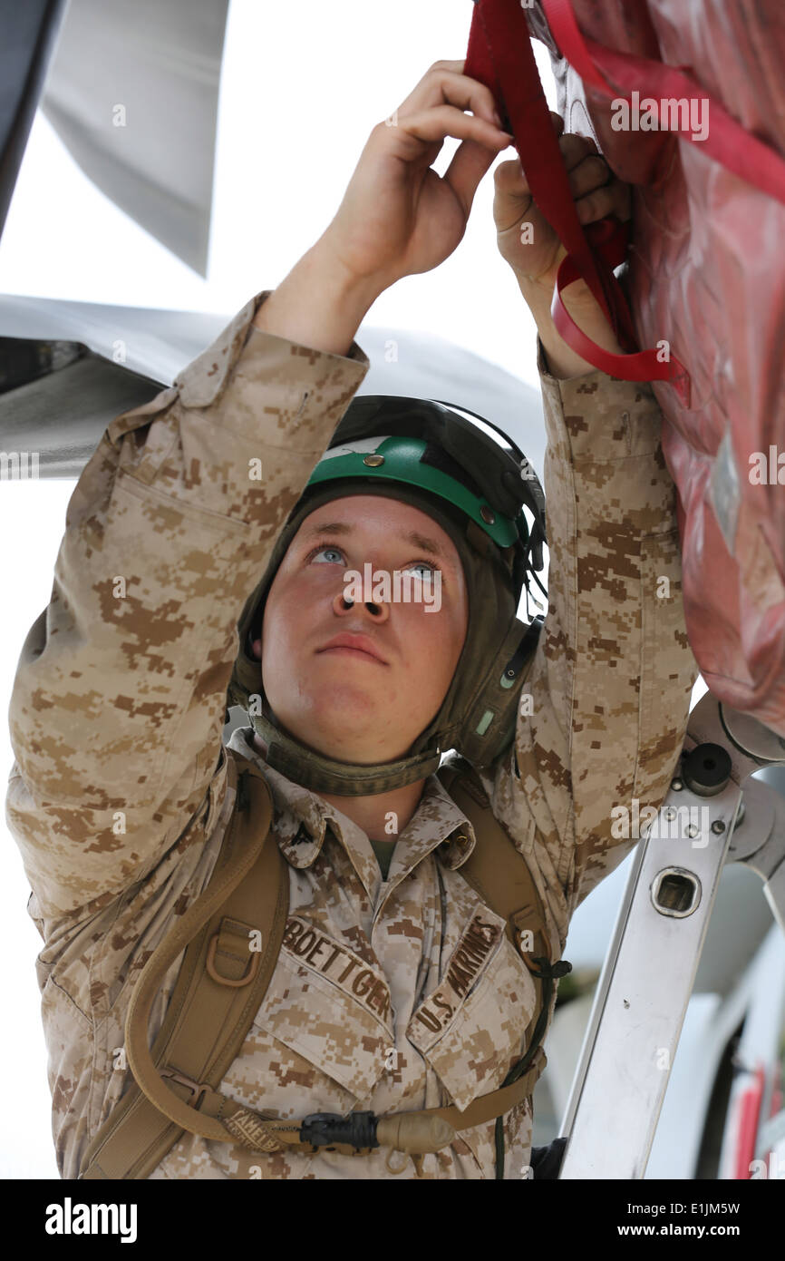 U.S. Marine Corps Lance Cpl. Robert Boettger, airframe mechanic with Marine Medium Tiltrotor Squadron (VMM) 363, Stock Photo