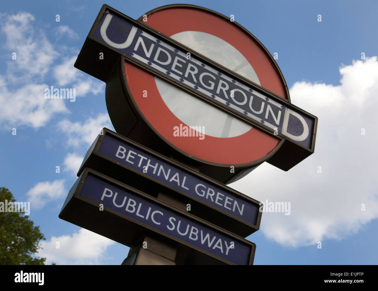 Sign on Bethnal Green Underground station in East London - Stock Image