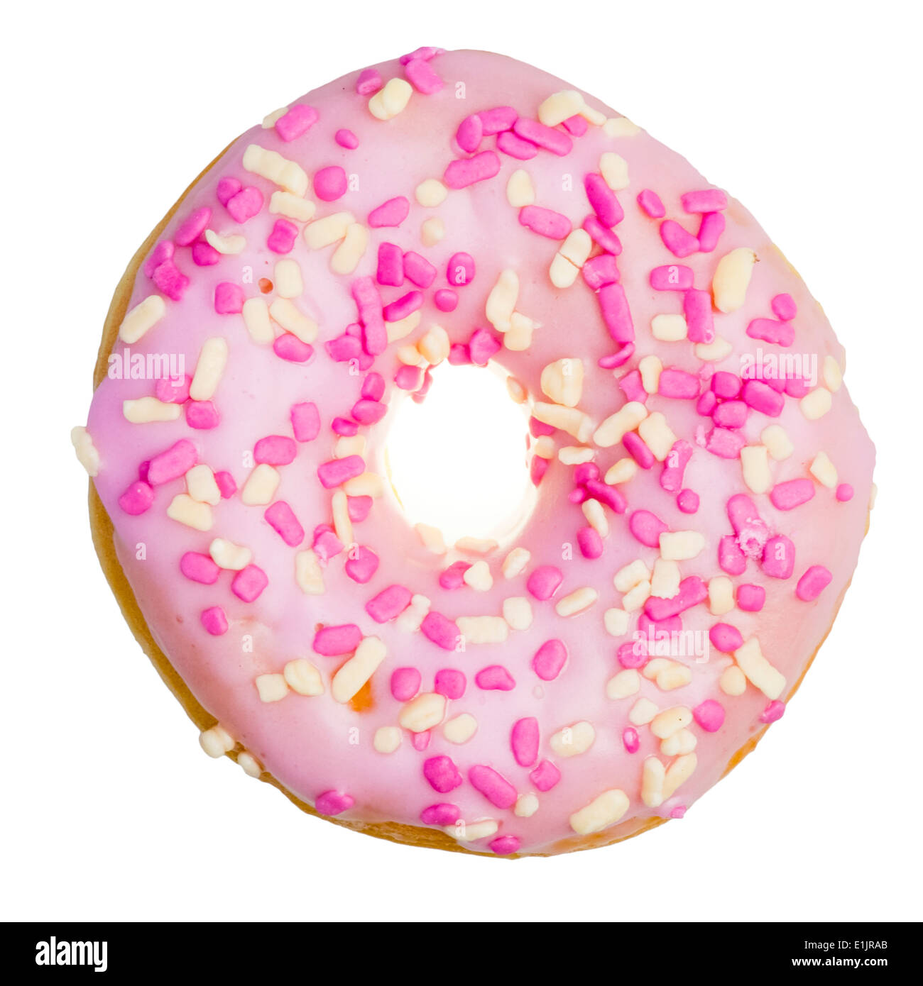Doughnut ring with sprinkles & pink icing. Single Donut glazed with strawberry glaze isolated on a white background. - Stock Image