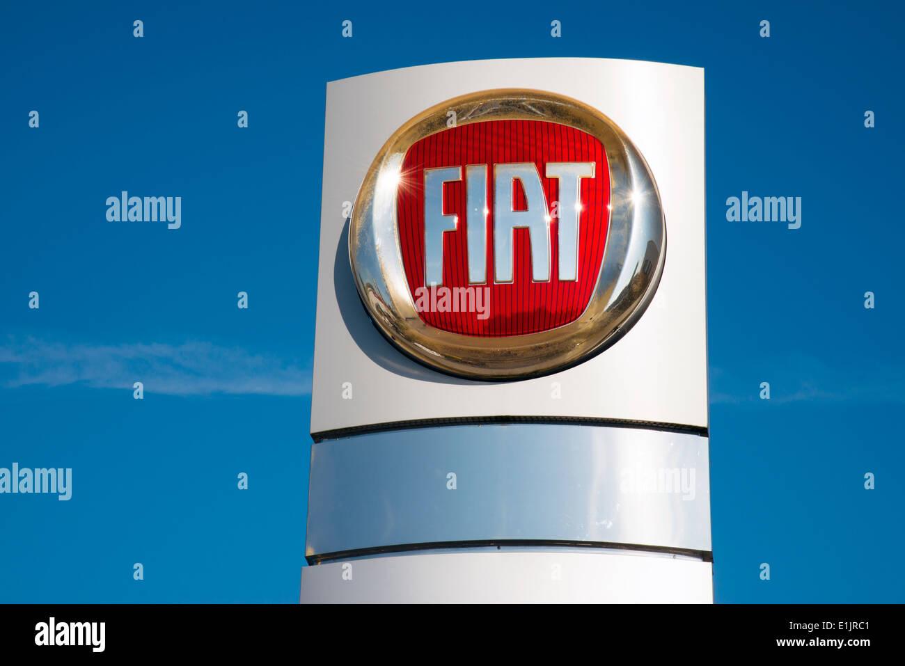 Fiat sign at a car dealership, UK. - Stock Image