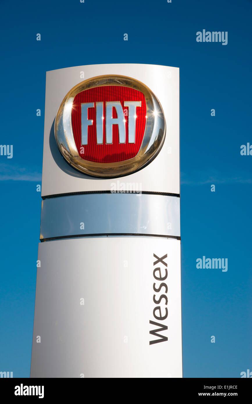 Fiat Wessex sign at a car dealership, UK. - Stock Image