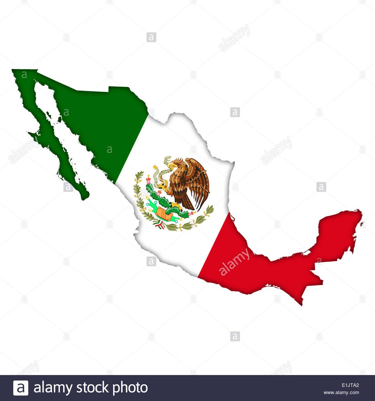 Mexico flag map icon logo - Stock Image