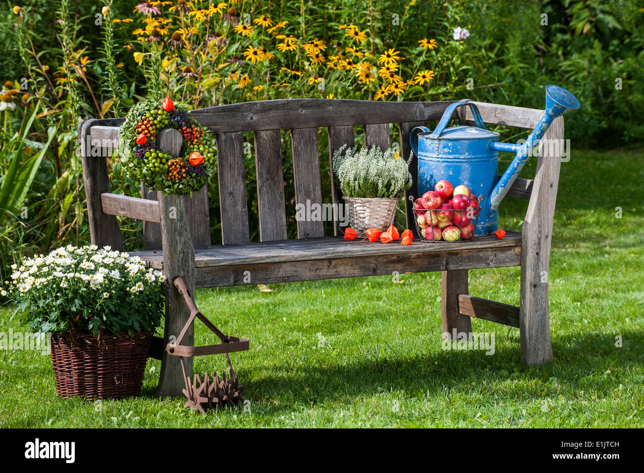 Garden Bench With Autumn Decoration Stock Photo 69870433 Alamy