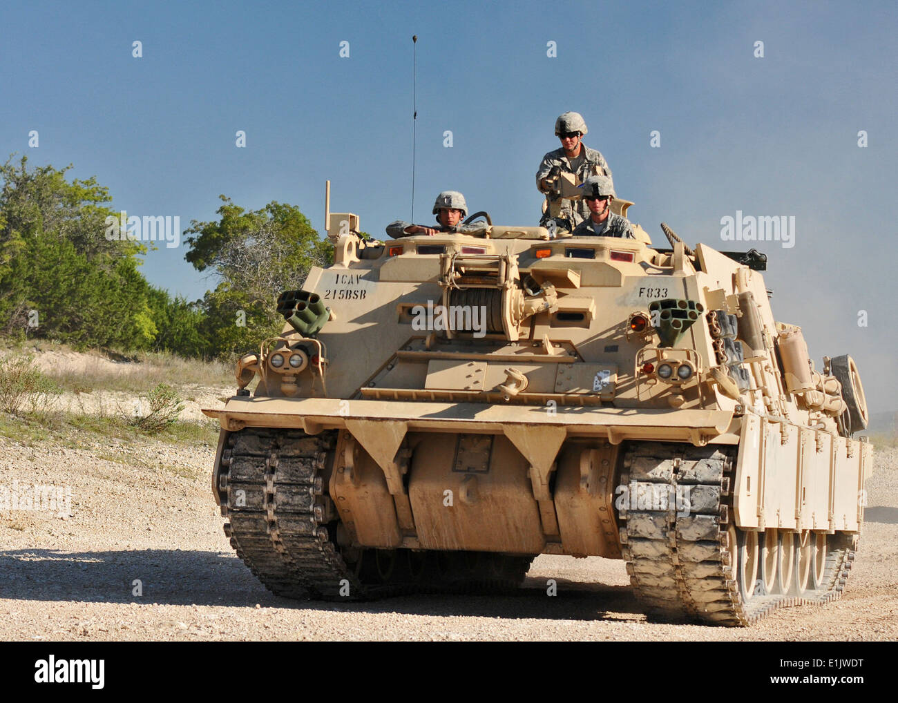 U.S. Soldiers with the 3rd Battalion, 8th Cavalry Regiment, 3rd Brigade Combat Team, 1st Cavalry Division man an Stock Photo