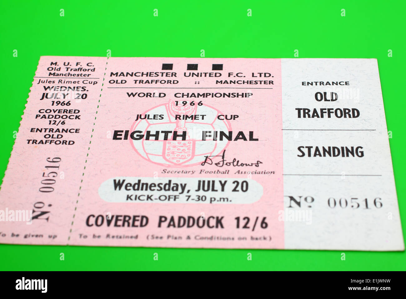 Original 1966 World Cup tickets for the Eighth Final match - Hungary V Bulgaria on a green background Stock Photo