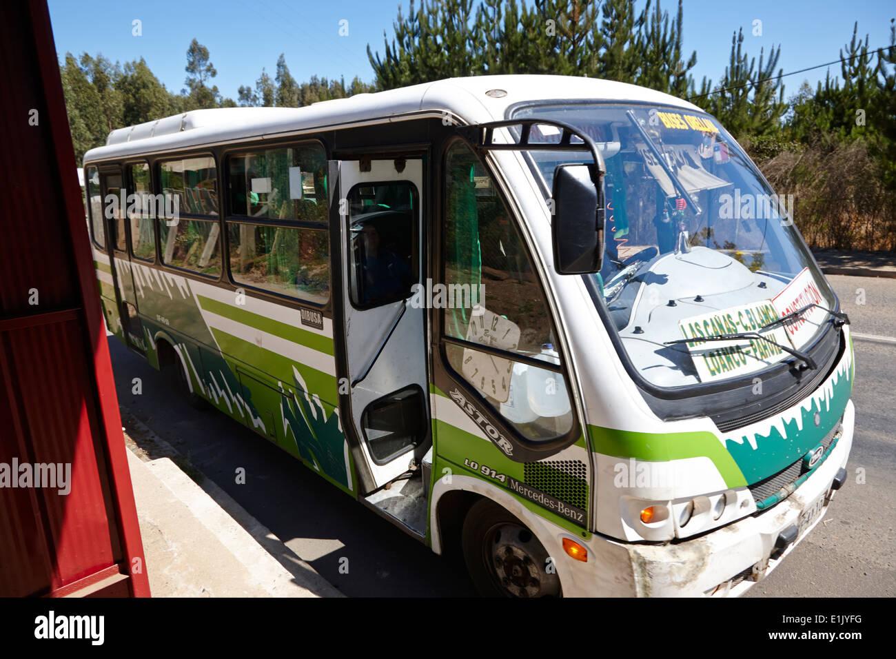 small local minibus bus service los pellines chile - Stock Image
