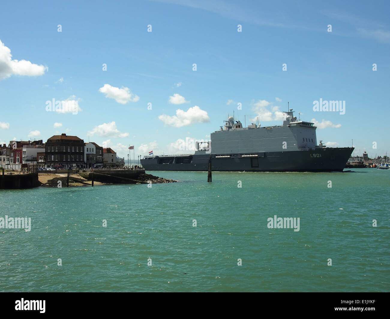 HNLMS Johan de Witt entering Portsmouth Harbour, England - Stock Image