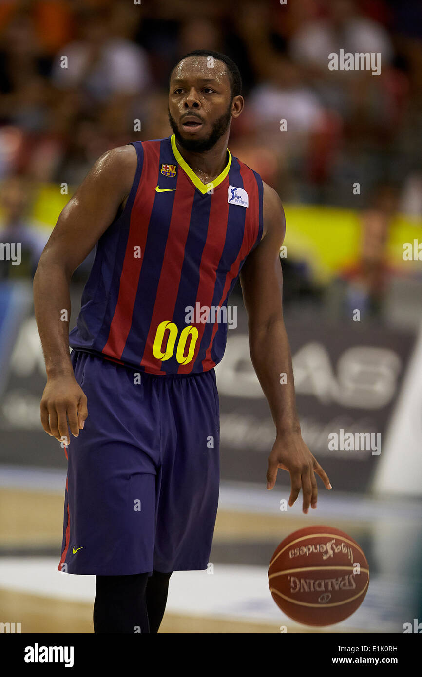 05.06.2014, Valencia, Spain. Jacbob Everse Pullen of FC Barcelona in action during the ACB League Semi finals game between Valencia Basket Club and FC Barcelona at La Fonteta Stadium, Valencia, Spain - Stock Image