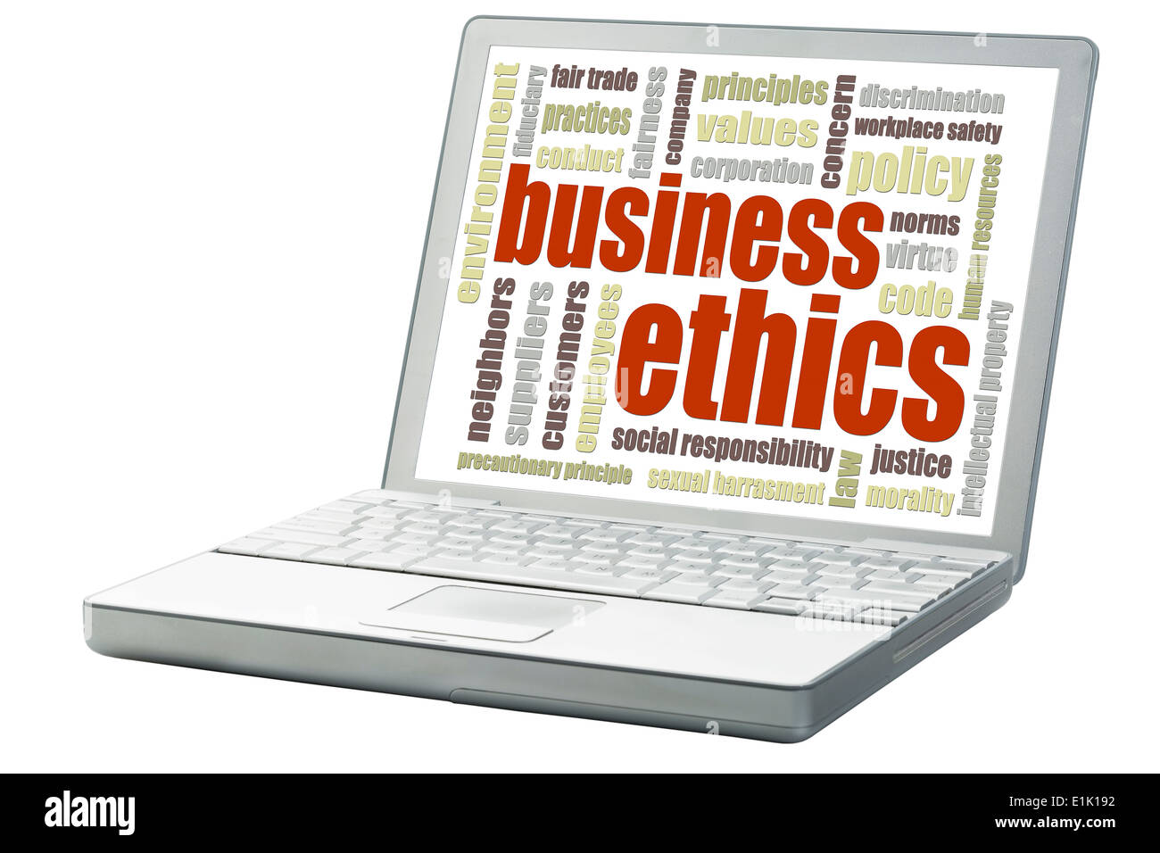 business ethics concept - a related word cloud on an isolated laptop - Stock Image