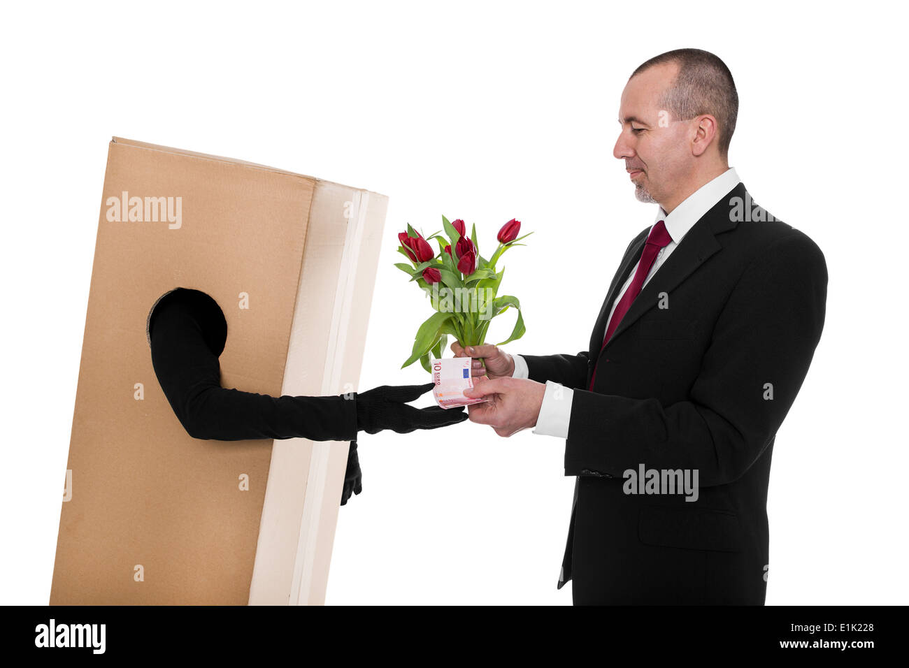 Concept: a Businessman ordered a flower deliverer - Stock Image