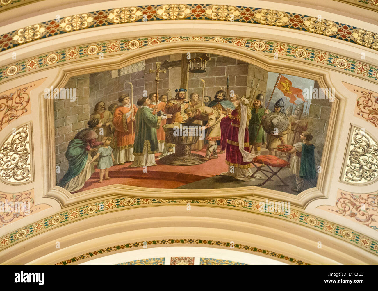 Mural of the Baptism of Mieszko I. On the ceiling a large painting of the baptism of the first ruler of Poland Stock Photo